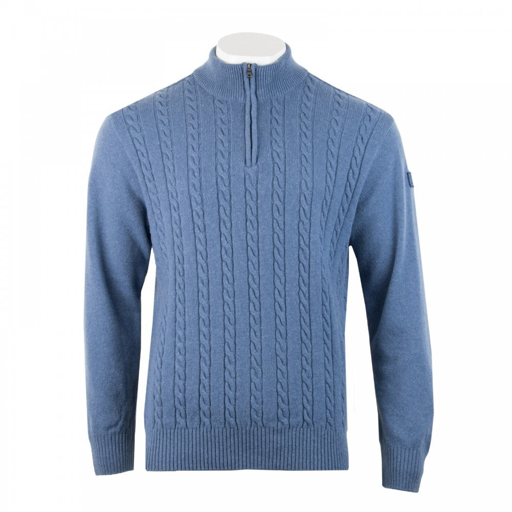 dbf6f77fdc Paul & Shark Mens Half Zip Cable Knit Sweater (Blue) - Mens from ...