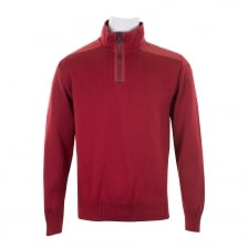 Paul & Shark Mens Half Zip Knit Sweater (Wine)
