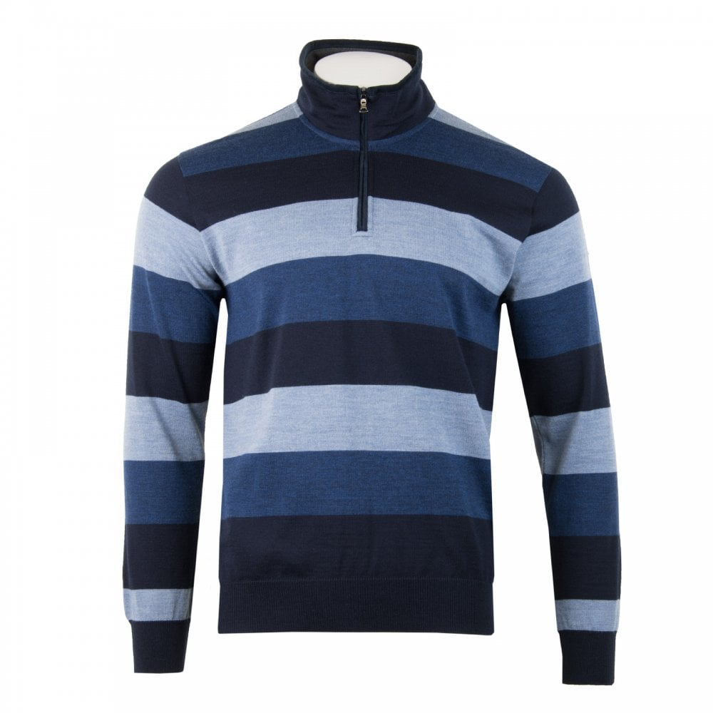 Paul   Shark Mens Half Zip Stripe Knit Sweater (Navy) - Mens from ... 51839c56db0f