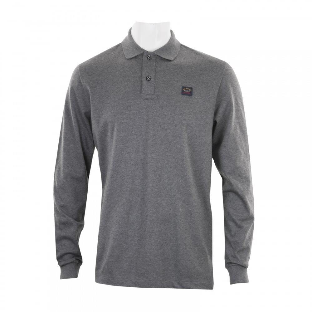 c65d2fb0e3 Paul & Shark Mens Long Sleeve Embroidered Polo Shirt (Grey) - Mens ...