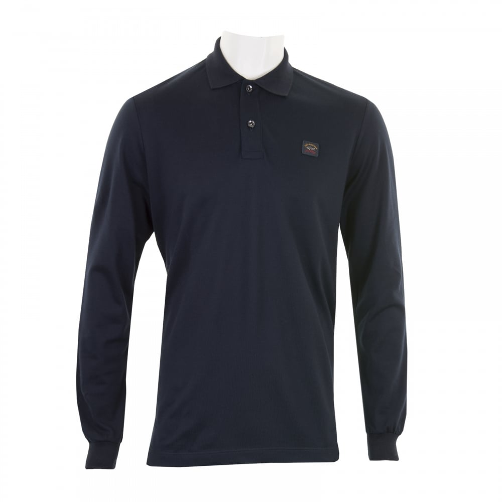 Paul shark mens long sleeve embroidered polo shirt navy for Mens navy polo shirt