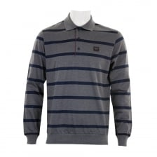 Paul & Shark Mens Long Sleeve Stripe Polo Shirt (Grey/Navy)