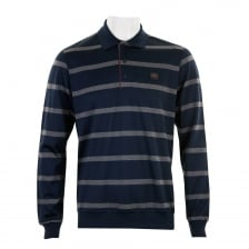 Paul & Shark Mens Long Sleeve Stripe Polo Shirt (Navy/Grey)