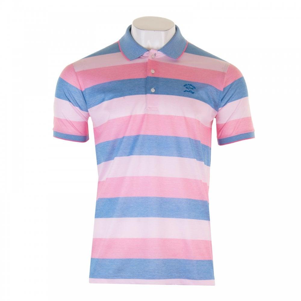 99abfae2 Paul & Shark Mens Mercerized Stripe Polo Shirt (Pink) - Mens from ...