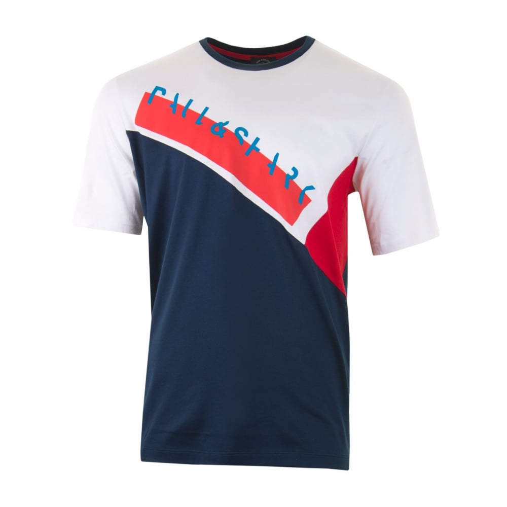 740bb670b9 Paul & Shark Mens Panel Writing T-Shirt (White/Navy) - Mens from ...