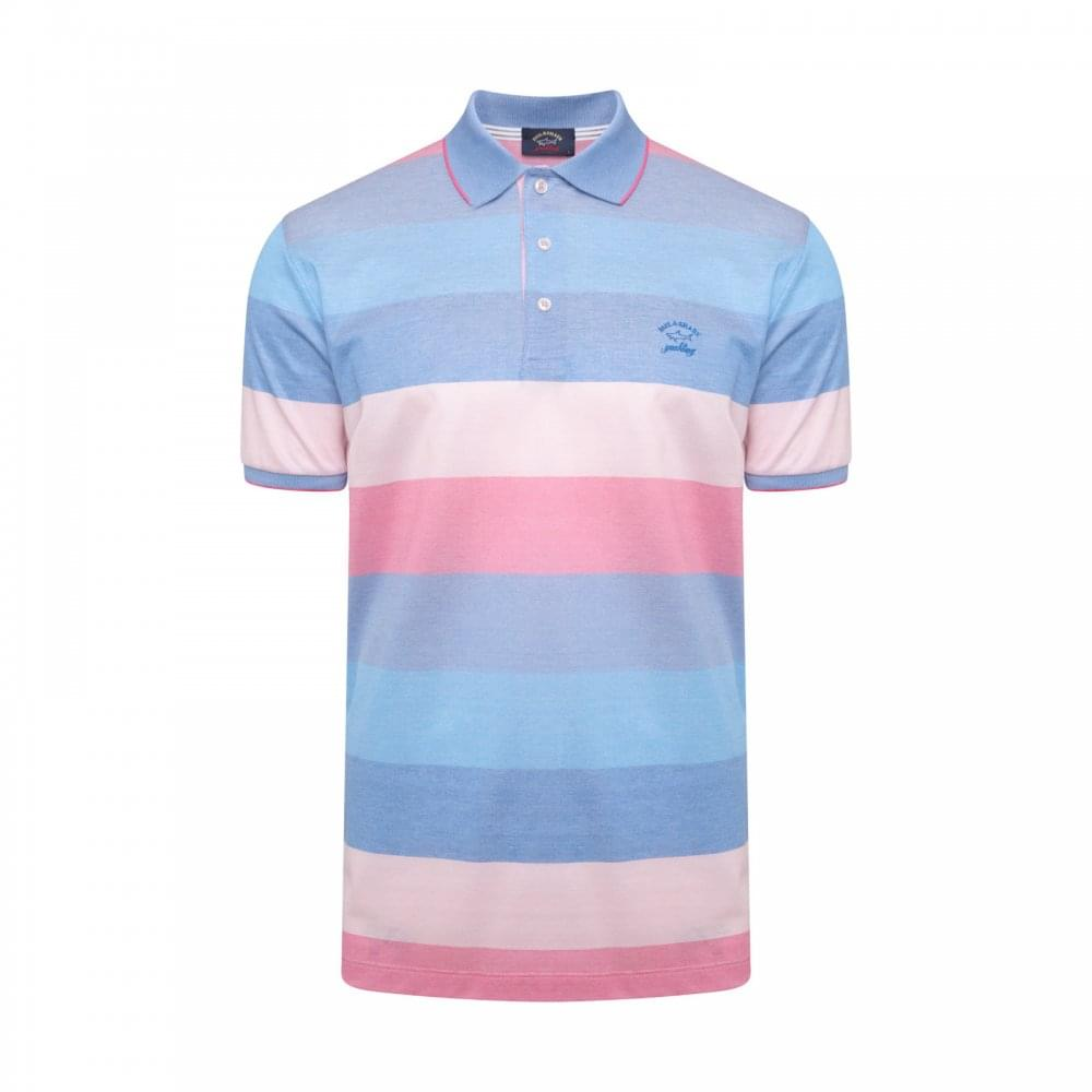 Paul   Shark Mens Stripe Polo Shirt (Blue Pink) - Mens from Loofes UK 177f4c2313e6