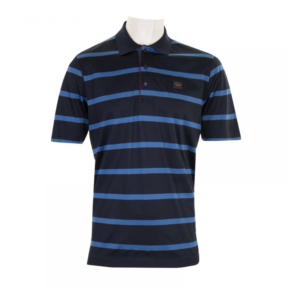 Paul Shark Mens Stripe Polo Shirt Navy Blue Mens