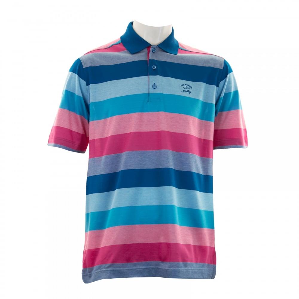 paul shark mens stripe polo shirt tonal pink tonal blue