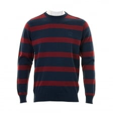 Paul & Shark Mens Yachting Stripe Crew Neck Knit Sweater (Blue/Red)