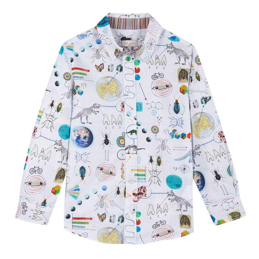 dd9f32b378 Juniors Solan Scientific Printed Poplin Shirt (White)