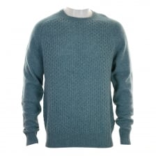 Peter Werth Mens Dykan Cable Knit Sweater (Blue)