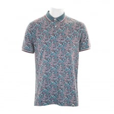 Pretty Green Mens Camley AOP Polo Shirt (Blue)