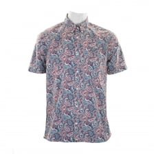 Pretty Green Mens Camley Paisley Shirt (Blue)