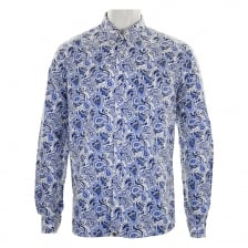 Pretty Green Mens Caversham Paisley Long Sleeve Shirt (White Blue)
