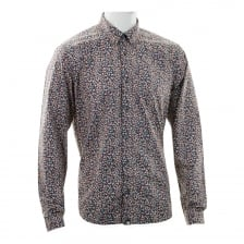 Pretty Green Mens Freeman Dot Print Shirt (Navy)