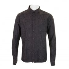 Pretty Green Mens Hopkin Flower Print Shirt (Black)