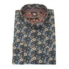 Pretty Green Mens Manor Print Shirt (Navy)