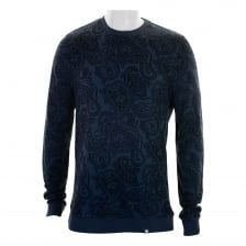 Pretty Green Mens Naseby Paisley Crew Neck Sweatshirt (Navy)