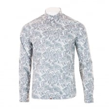 Pretty Green Mens Paisley Print Slim Shirt (Grey)