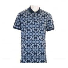Pretty Green Mens Palatine AOP Paisley Polo Shirt (Navy)