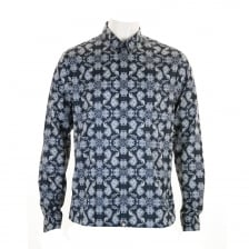 Pretty Green Mens Palatine AOP Paisley Shirt (Navy)