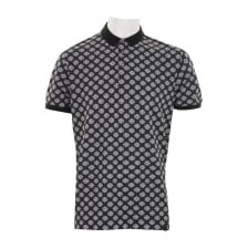 Pretty Green Mens Ritches Flower Print Polo Shirt (Black)