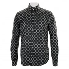 Pretty Green Mens Ritches Flower Print Shirt (Black)