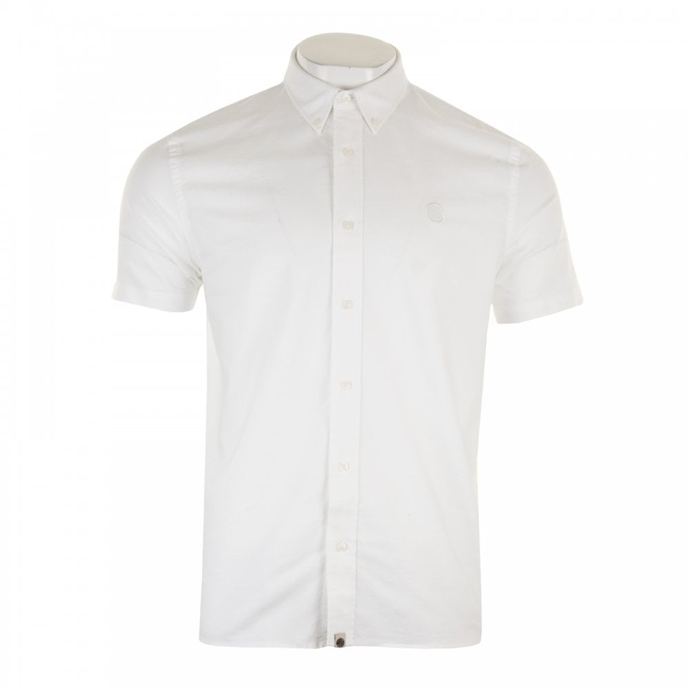 c676f3a69747 PRETTY GREEN Pretty Green Mens Short Sleeve Oxford Shirt (White ...