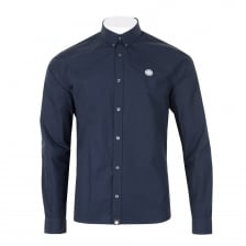 Pretty Green Mens Slim Fit Badge Shirt (Navy)