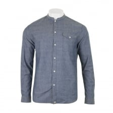 Pretty Green Mens Slim Fit Collarless Shirt (Indigo)