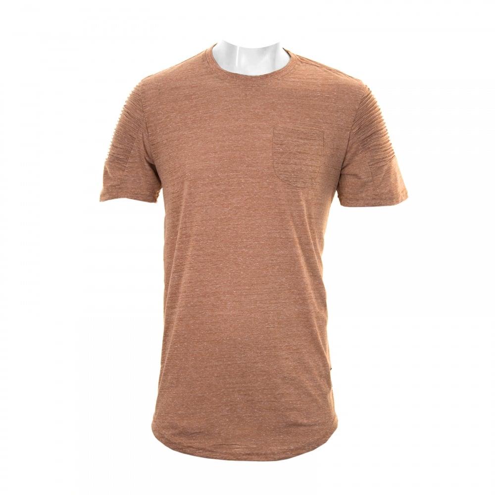 Project X Paris Mens Pleated Pocket Sleeve T-Shirt (Camel) - Mens ... d1bb36e12