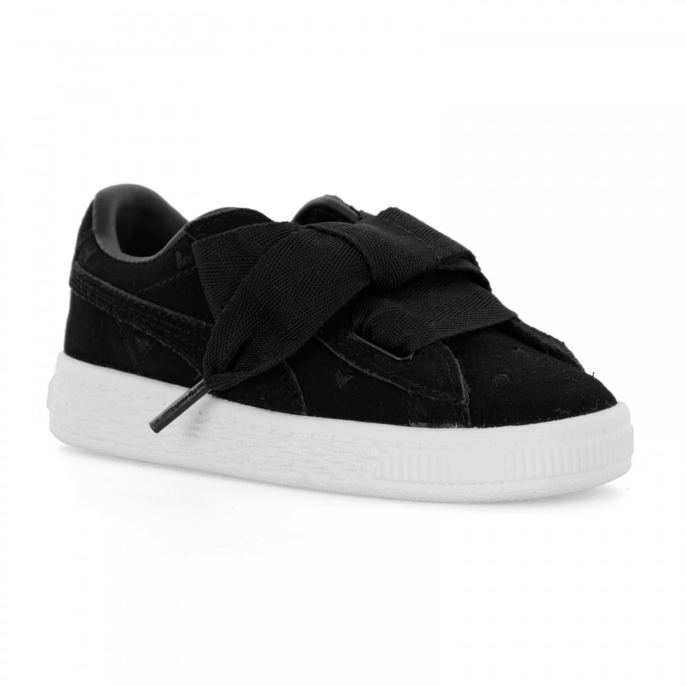 outlet store 574ba 737b4 Infants Suede Heart Valentine Trainers (Black)