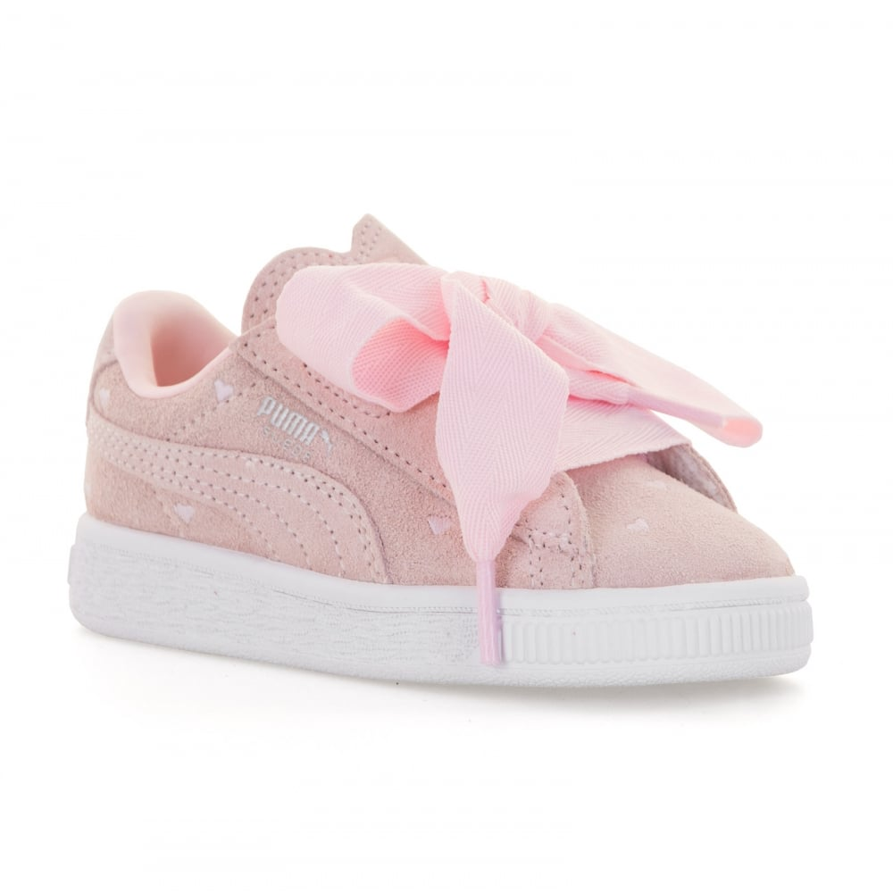 puma puma infants suede heart valentine trainers pink. Black Bedroom Furniture Sets. Home Design Ideas