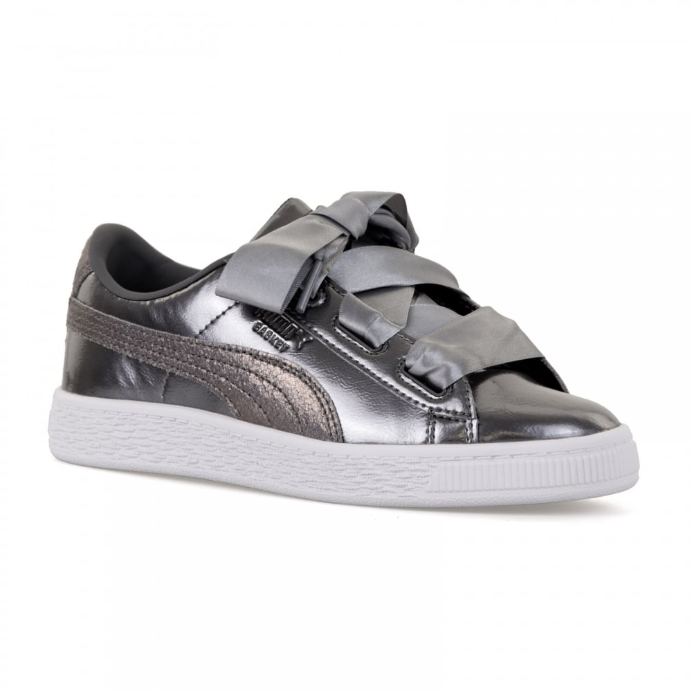 0da3330dad5938 Puma Juniors Basket Hearts Lunar Lux Trainers (Silver) - Kids from ...