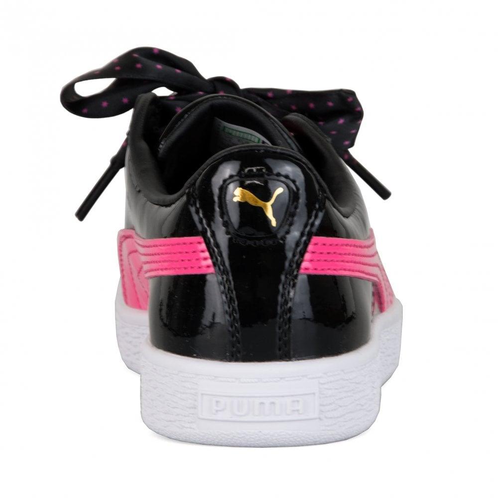 cfa7c58315de Puma Juniors Basket Patent Stars Trainers (Black) - Kids from Loofes UK