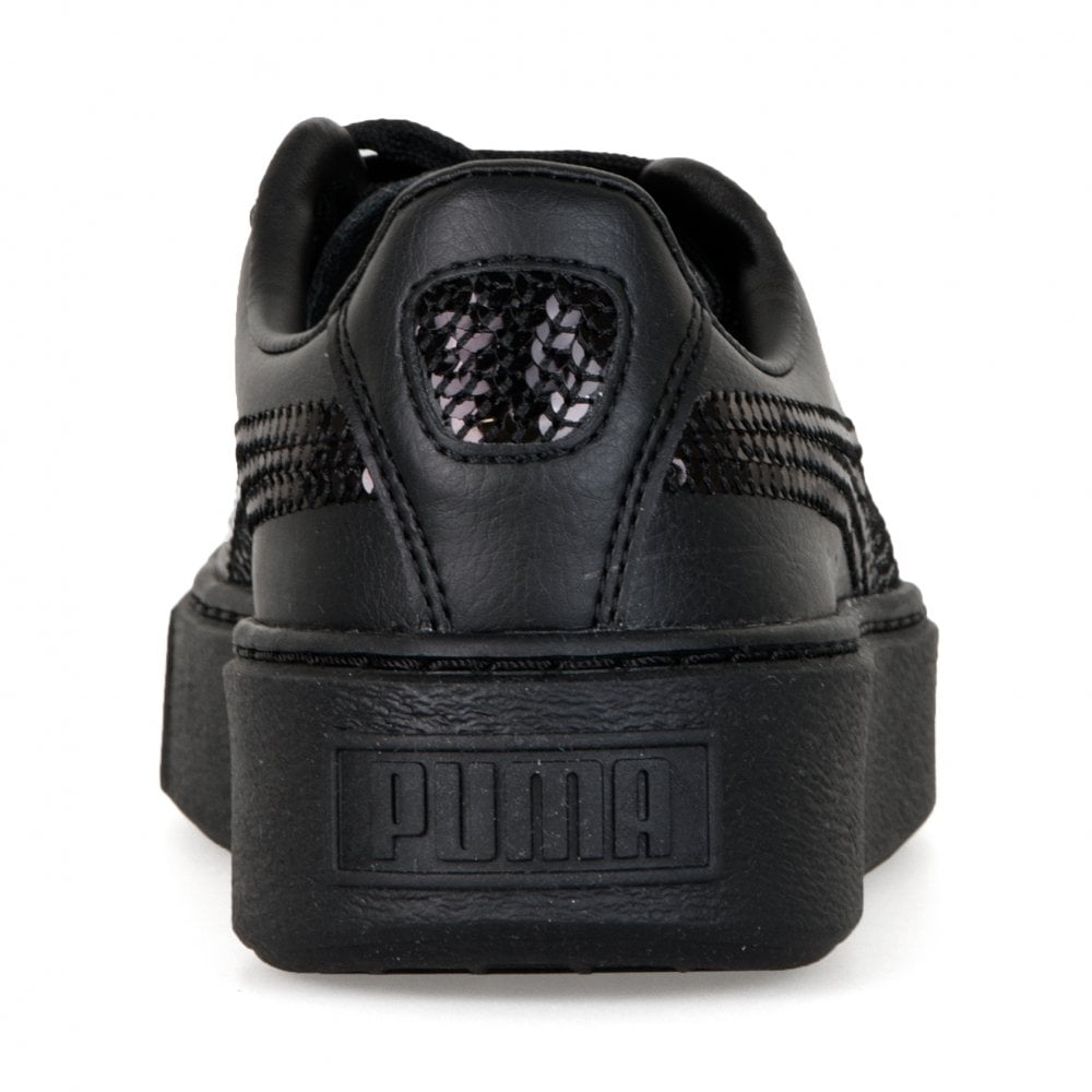 lower price with e3d68 82cb2 Juniors Basket Platform Bling Trainers (Black)