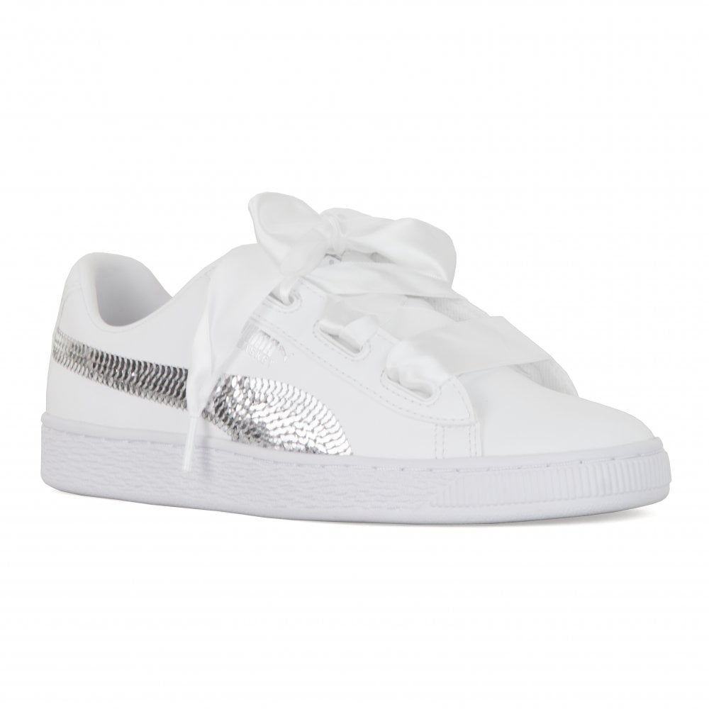 ac5c4be60f Puma Juniors Basket Platform Bling Trainers (White) - Kids from ...