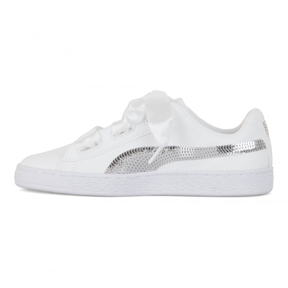 60e1f534bf Juniors Basket Platform Bling Trainers (White)