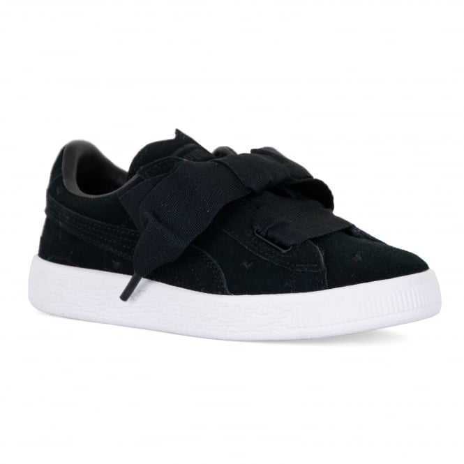 official photos 24298 b7f47 Juniors Suede Heart Valentine Trainers (Black)