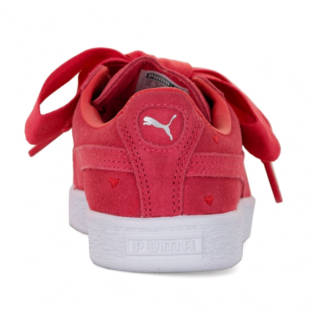 newest db497 56ab5 Juniors Suede Heart Valentine Trainers (Paradise Pink)