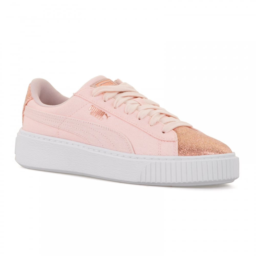 6ce7afa2635a Puma Womens Basket Canvas Platform 118 Trainers (Rose Gold) - Womens ...