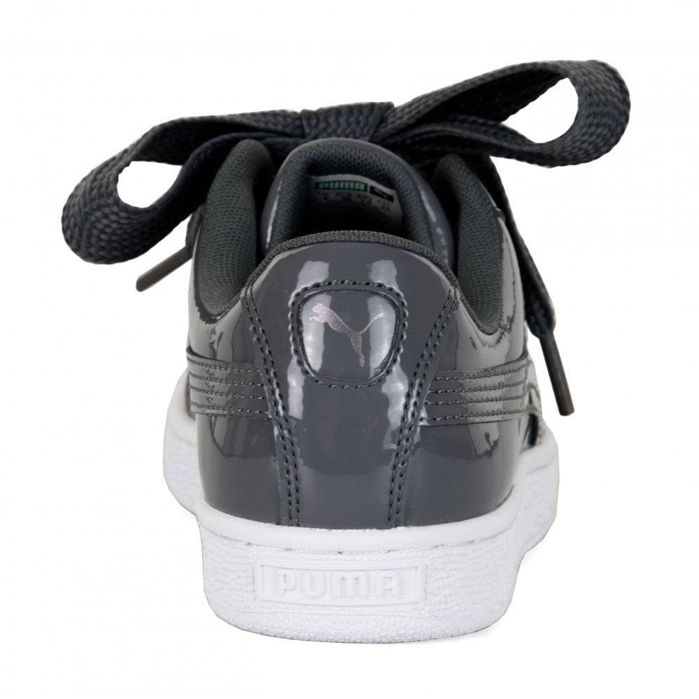04a3db5ab8b Puma Womens Basket Heart Patent Trainers (Iron) - Womens from Loofes UK