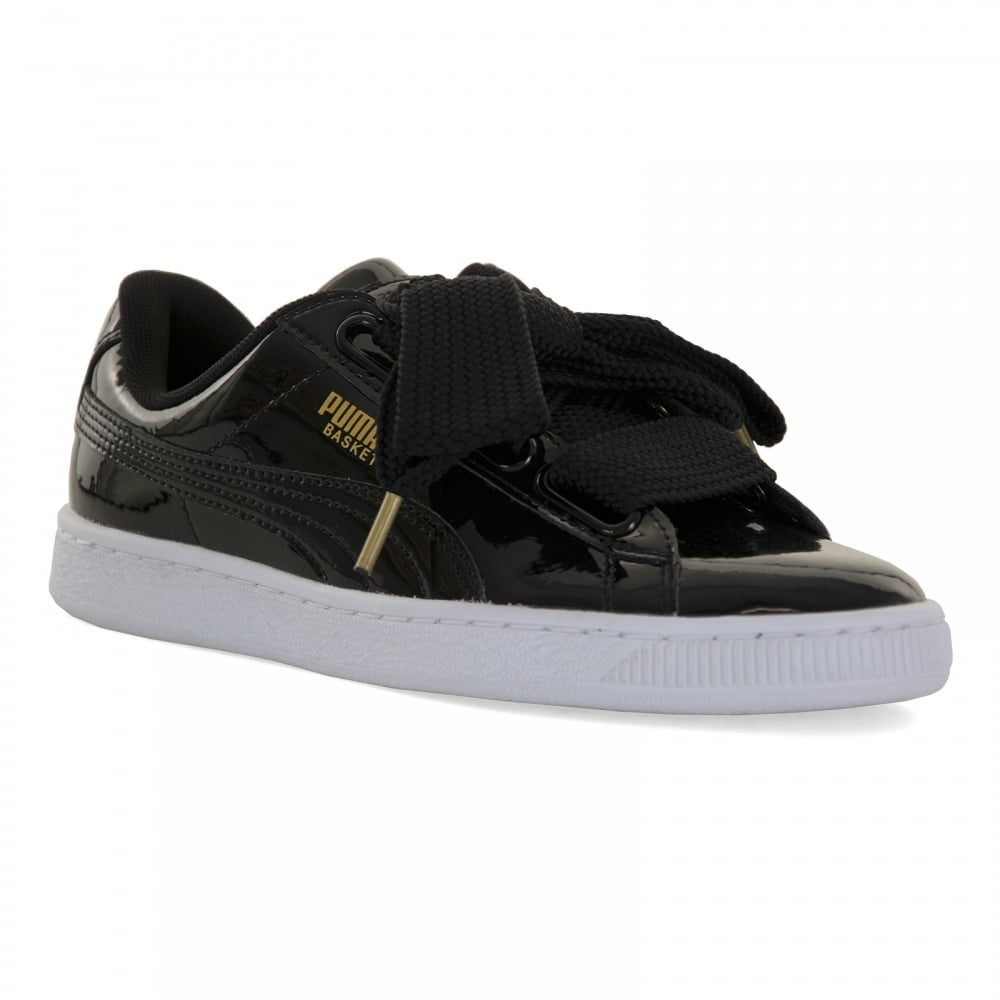 4c333d3d66e Puma Womens Basket Hearts Patent 217 Trainers (Black) - Womens from ...