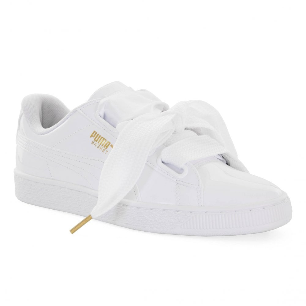 puma basket heart patent satin