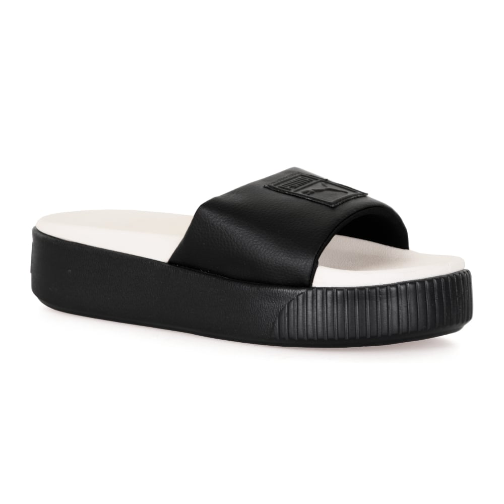 144ceec421f35e Puma Womens Platform Slide Flip Flops (Black White) - Womens from ...