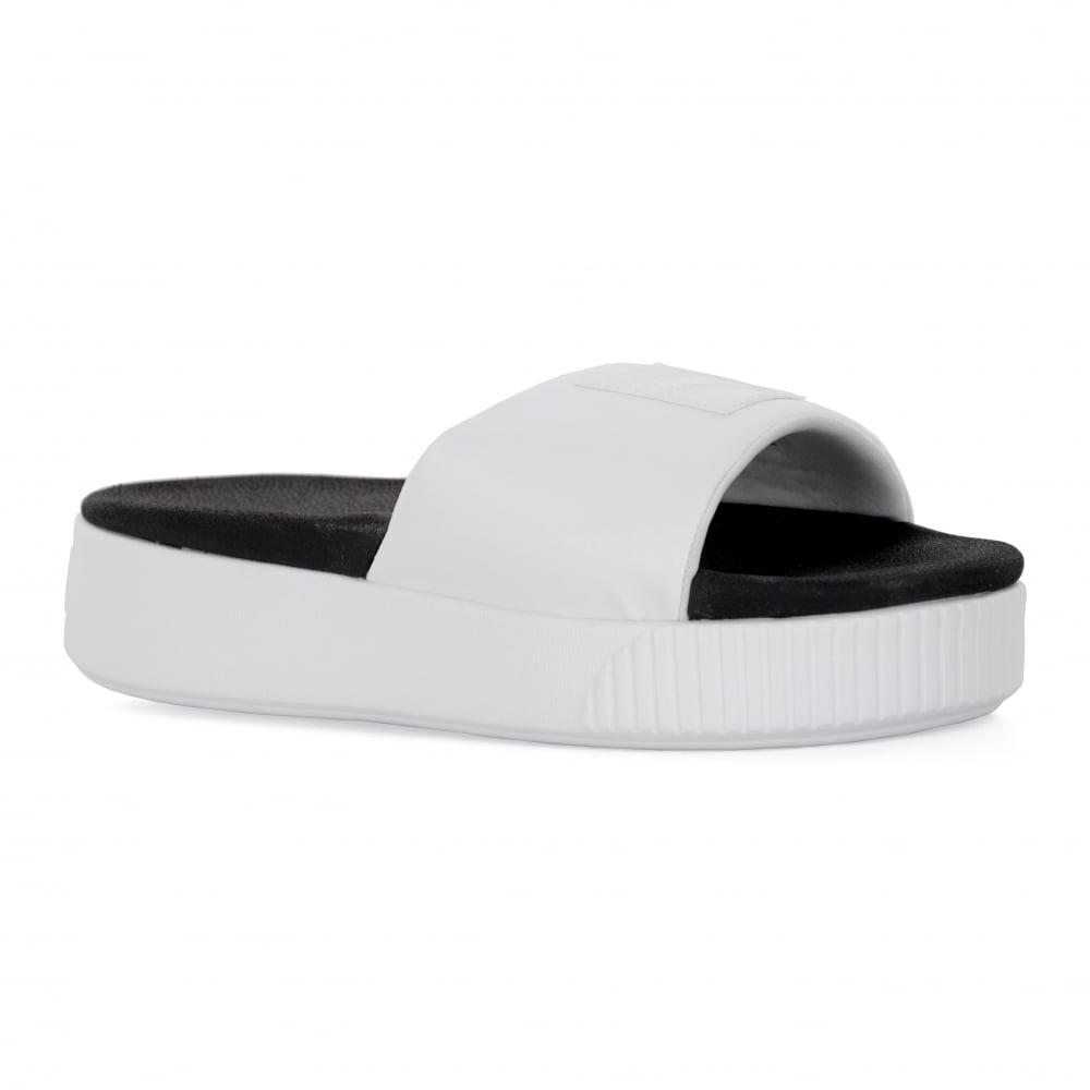 2dc5379abff Puma Puma Womens Platform Slide Flip Flops (White Black)