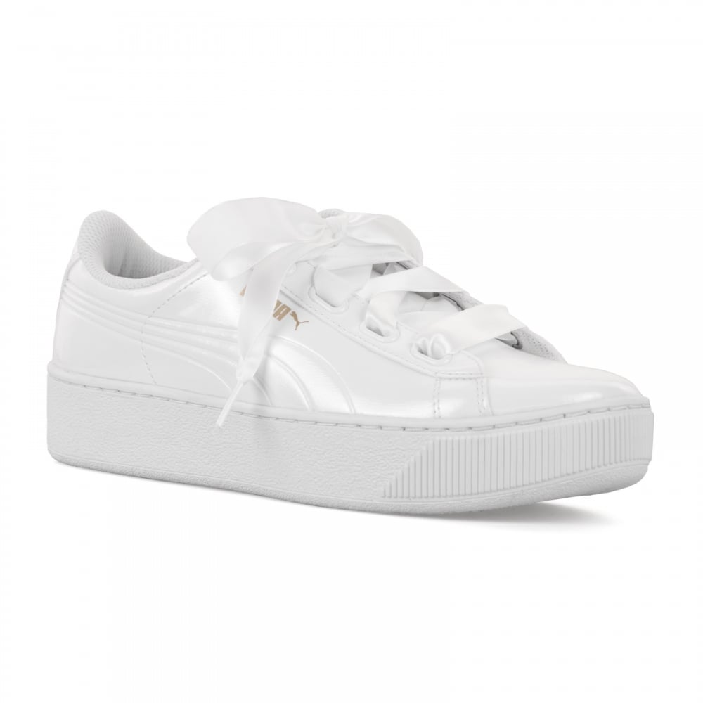 50e0a90e832028 Puma Womens Vikky Platform Ribbon 118 Trainers (White) - Womens from ...