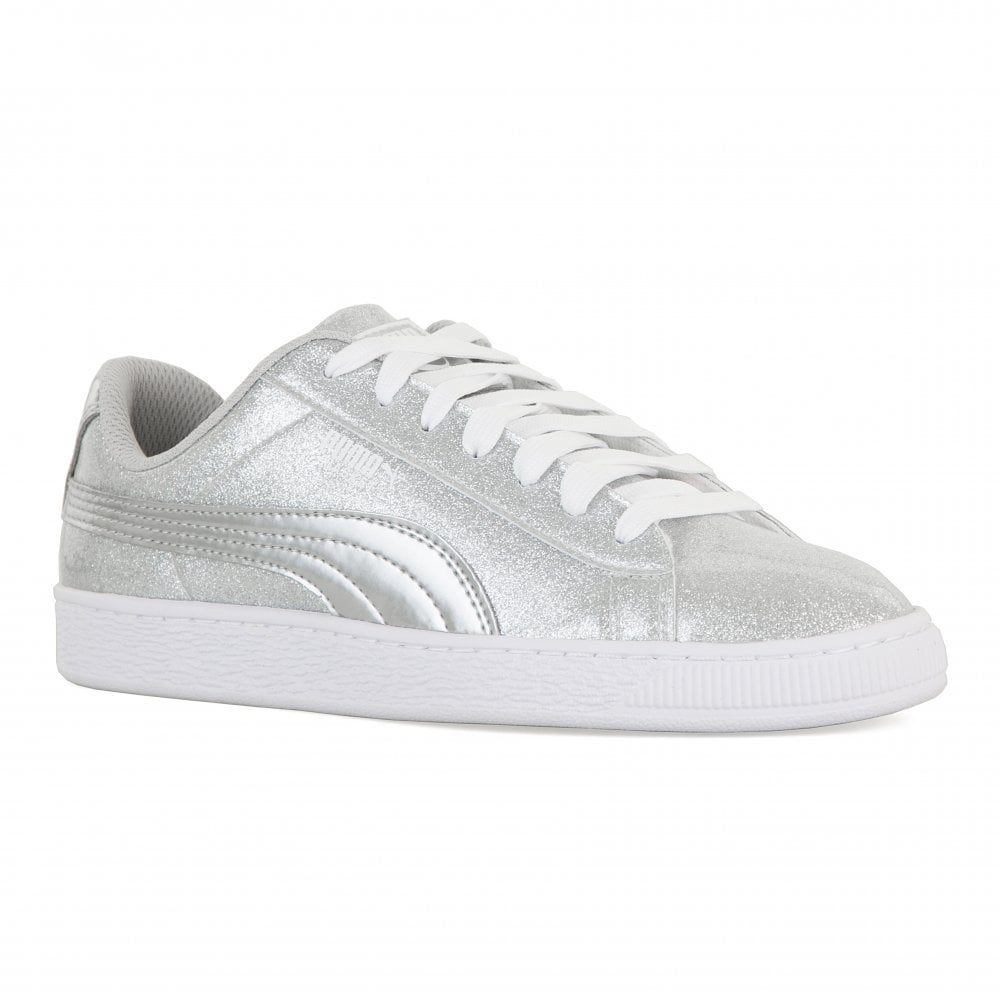 low priced 84859 dade8 Youths Basket Metallic Trainers (Silver)