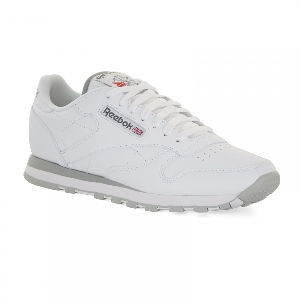 Humano Brillar podar  Reebok Mens Classic Leather Trainers (White/Light Grey) - Mens ...