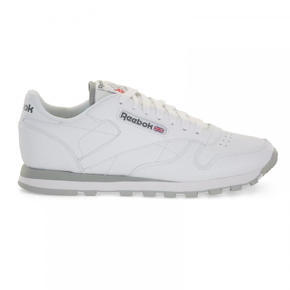 804da8796a4 Reebok Mens Classic Leather Trainers (White Light Grey) - Mens from ...